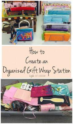 Organized gift wrap center - so simple!