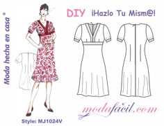 Download free patterns for women summer dress empire waist available in 12 sizes including EXTRAGANDES Sizes