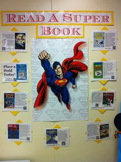 """Want to do this for next school year!(maybe add Wonder Woman as well)""""Read a Super Book"""" is a fun reading bulletin board idea that involves your students in writing about books that they thought were super. Superhero School, Superhero Classroom Theme, Classroom Themes, School Displays, Library Displays, Classroom Displays, Book Displays, Classroom Organization, Library Themes"""