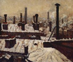"""""""Roof under the Snow, Paris"""" by Gustave Caillebotte, 1878"""
