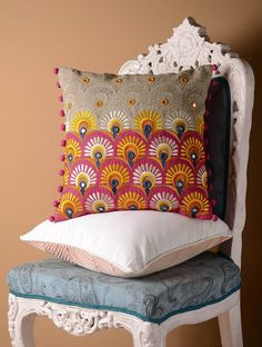 Buy Grey Multicolor Kutch Folk Peacock Feather Cushion Cover 16in x Linen Home Textiles Cushions Past Perfect Continuous Vibrant Covers & Table Runners Online at Jaypore.com