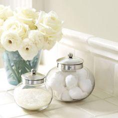 Apothecary Jar traditional bath and spa accessories Apothecary Bathroom, Apothecary Jars, Traditional Baths, Master Bedroom Bathroom, Walk In Shower Designs, Silver Tops, Antique Bottles, Painted Mason Jars, Ballard Designs