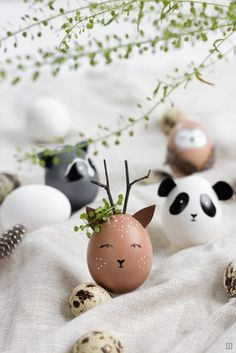 Ostereier als Wildtiere bemalen – Waschbär, Reh, Eule oder Panda – Ostern wird … Paint Easter eggs as wild animals – raccoon, deer, owl or panda – Easter is celebrated without rabbits and lamb! Easter Egg Crafts, Easter Bunny, Easter Eggs, Easter Dyi, Easter Table, Easter Gift, Diy Y Manualidades, Easter Egg Designs, Egg Decorating