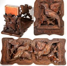 Antique Black Forest Carved Tabletop Book Rack, Stand, Slide - Birds And Oak…