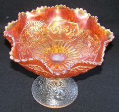 """Fenton Mikado Two-Tone Carnival Glass Compote 8"""" Tall - Pre Logo    From Ruby Lane Shop Cousins Antiques"""