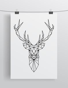 Ideas For Geometric Art Deer Tattoo Ideas Geometric Deer, Geometric Drawing, Geometric Designs, Geometric Patterns, String Art, Art Music, City Art, Planners, Geometric Tattoos