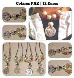 Colares PAZ | Colares em pele castanha escura c/ símbolo da PAZ, com pérolas e guizos |12€
