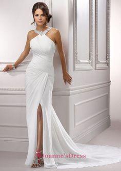 Mermaid Halter Chiffon Court Train White Beading Wedding Bridal Gowns / Dresses