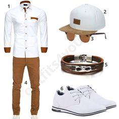 Weiß-Braunes Outfit mit Reslad Hemd (m0446)