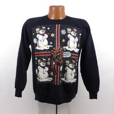 Ugly Christmas Sweater Vintage Sweatshirt Party Xmas Tacky Holiday Snowman Size M