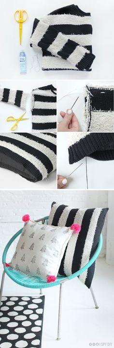 faça você mesma uma capa para almofada usando suéter preto e branco
