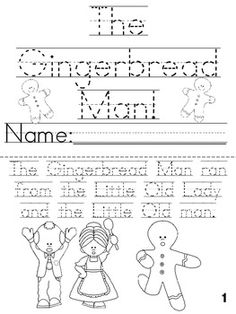 Great printable book for the Gingerbread Man unit!