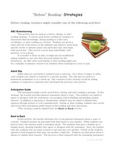 before-reading-strategies-2403442 by jacquelineblan via Slideshare