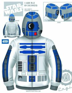 R2-d2.  http://laughingsquid.com/star-wars-zip-up-hoodies/