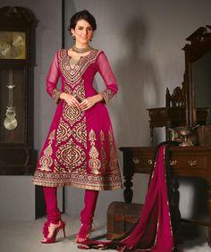 $108.19 Pink Embroidery Net A Line Anarkali Style Salwar Kameez 21973