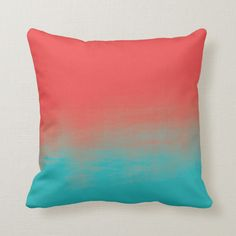 Shop Ombre Watercolor Texture - Teal and Coral Throw Pillow created by DifferentStudios.