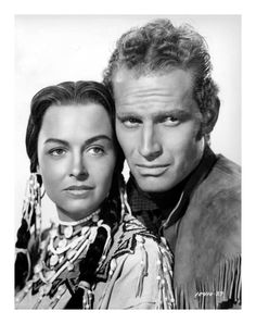 Donna Reed and Charlton Heston in 'The Far Horizons', directed by Rudolph Maté, 1955