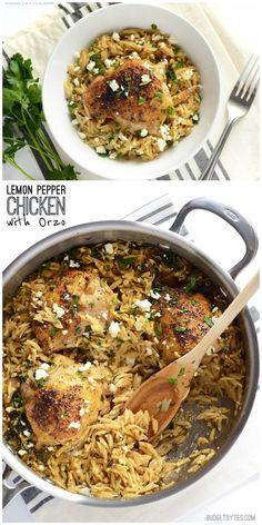 Lemon Pepper Chicken with Orzo - BudgetBytes.com