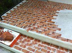 Painting Concrete, Stained Concrete, Concrete Patio, Brick Porch, Faux Brick, Brick Flooring, Patio Makeover, Painted Floors, Diy On A Budget