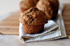 Banana Bran Muffins - I added a handful or two of fresh blueberries and a handful of sunflower seeds, as well as sprinkled a few sunflower seeds and chia seeds on top before baking. Also I only used a half cup of sugar!