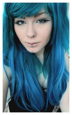 Beautiful mermaid blue green hair
