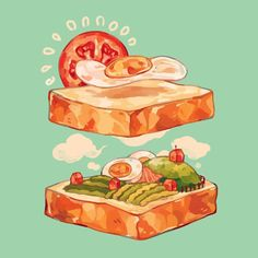 Avocado Sandwich Fields by reikureii on DeviantArt - Surface design / art goa . - Drawings of Food cause apparently that's a thing - Avocado Art And Illustration, Food Illustrations, Character Illustration, Dessert Illustration, Arte Do Kawaii, Kawaii Art, Cute Food Drawings, Kawaii Drawings, Cute Food Art