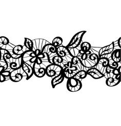 Seamless black lace vector 1119735 - by pzRomashka on VectorStock® - Creative. - Seamless black lace vector 1119735 – by pzRomashka on VectorStock® - Lace Tattoo Design, Lace Design, Tattoo Designs, Lace Drawing, Pattern Drawing, Lace Garter Tattoos, Henna, Drawing Templates, Stencil Templates