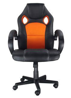 Racing Gaming Chair Soft PU Leather /& Mesh Fabric Chair Grey//Orange//Petrol Blue