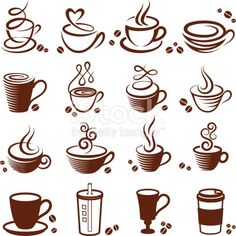 Coffee cup vector white icon set