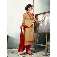 Beige Embroidered Chanderi Cotton Salwar Suit With Dupatta