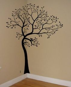"BLACK MATTE MATERIAL: Large 6ft Tree Wall Decal with 18"" trunk extension:Amazon:Everything Else"