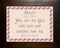 Hazel - Name Blessings Personalized Cross Stitch Design from Joyful Expressions Hazel Name, Cross Stitch Designs, Stitch Patterns, Everlasting Love, Names With Meaning, Baby Girl Names, Gifts For Family, Custom Framing, Bible Verses