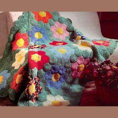 Crochet patchwork-style blanket