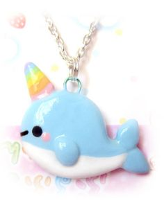 Kawaii narwhal ( * w * ) Sculpey Clay, Polymer Clay Kawaii, Polymer Clay Projects, Polymer Clay Charms, Clay Crafts, Kawaii Narwhal, Cute Narwhal, Polymer Clay Sculptures, Sculpture Clay