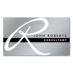 Monogram Professional Elegant Modern Silver Metal Double-Sided Standard Business Cards (Pack Of 100)