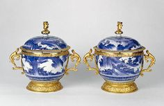Pair of Lidded Bowls. Mounts attributed to Wolfgang Howzer. Porcelain: Japanese, about 1650; Mounts: English, about 1670. Hard-paste porcelain, underglaze blue decoration; gilt metal mounts. 85.DI.178 ©J. Paul Getty Trust