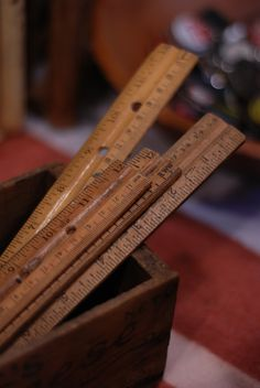 Old wooden rulers