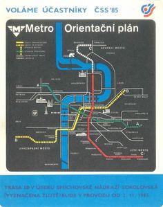 Orientační plán metra z roku 1985 s vyznačeným novým úsekem metra I. Prague, Ale, Old Things, How To Plan, Retro, Ale Beer, Retro Illustration, Ales, Beer