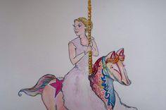 Riding the carousel #illustration #watercolour #wedding #bride