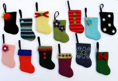 Rescued Wool Mini Stocking Ornament Advent Calendar Set A - set of 25 - recycled sweater wool by alicia todd