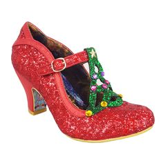 The world outside may be frightful, but these shoes are soooo delightful! Wrapped up in red glitter, Nicely Festive should be at the top of your love list this season as the cutest pair of Christmas heels. Comes with a jewel-trimmed tree topped with a Mid Heel Shoes, Heels, Shoes Sandals, Red Glitter Shoes, Christmas Shoes, Christmas Time, Christmas Ideas, Xmas, Shoe Refashion