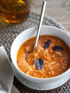 Roasted Tomato Basil with Orzo Soup