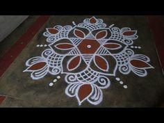 Rangoli Designs Flower, Rangoli Kolam Designs, Rangoli Designs With Dots, Rangoli Designs Images, Rangoli With Dots, Beautiful Rangoli Designs, Small Rangoli, Easy Rangoli, Padi Kolam