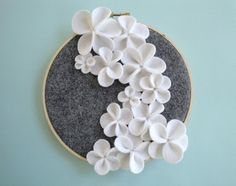 White Cascading Flower Wall Art by DashingEtc on Etsy