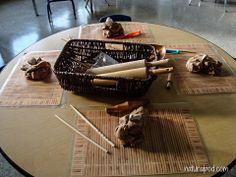 great idea to use cane mats under playdough interesting idea to use chopsticks too
