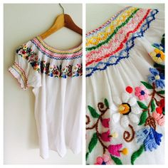Vintage Hand Embroidered Mexican blouse/top by MrsJoyful on Etsy, $25.00