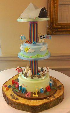 Glastonbury Festival Wedding Cake featuring most of the iconic images. Diy Wedding, Wedding Cakes, Cupcake Cakes, Cupcakes, Themed Birthday Cakes, Novelty Cakes, Festival Wedding, Celebration Cakes, Let Them Eat Cake