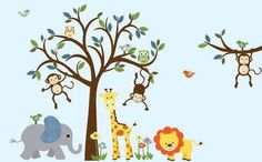 Nursery Jungle Wall Decals, Animal Wall Decals, Nursery Wall Decals, Tree Wall  Decal, Jungle Wall Decals, Giraffe Decal, Safari Wall Decal | Jungle Tree,  ...