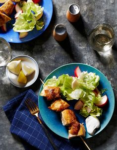 Deviled Chicken Skewers With Bibb Lettuce and Pickles