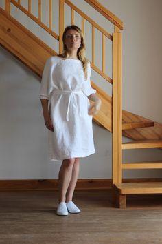 Linen dress. White linen dress. Oversize linen dress. V neckline dress. Round neckline dress. by Maliposhaclothes on Etsy